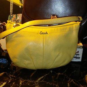 COACH yellow leather hobo